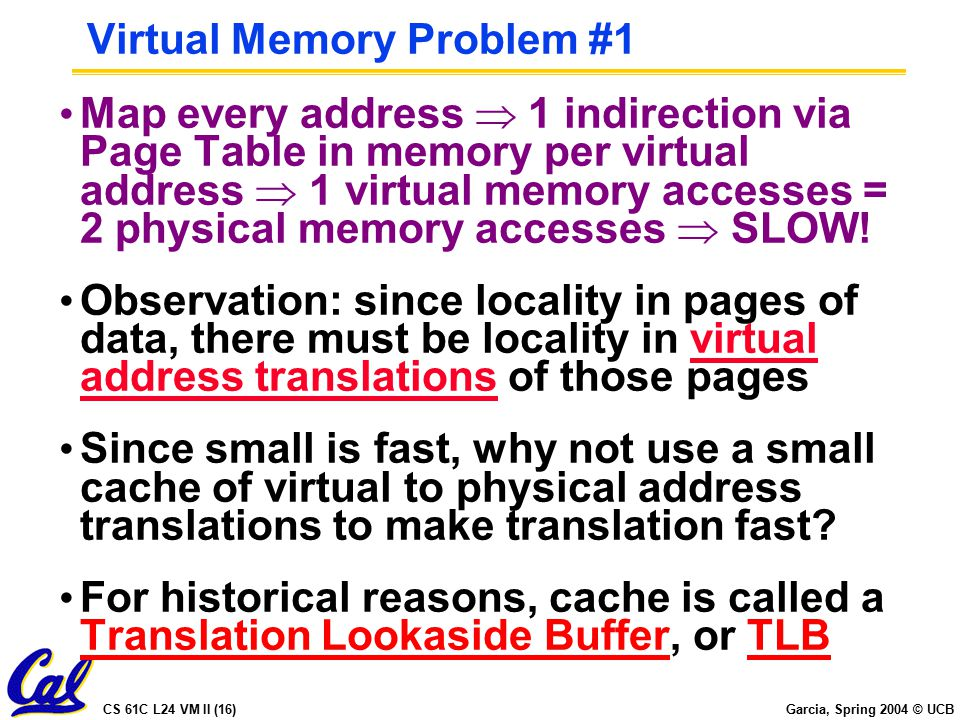 CS 61C L24 VM II (16) Garcia, Spring 2004 © UCB Virtual Memory Problem #1 Map every address  1 indirection via Page Table in memory per virtual address  1 virtual memory accesses = 2 physical memory accesses  SLOW.