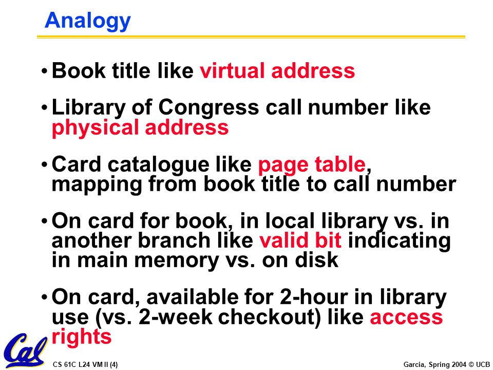 CS 61C L24 VM II (4) Garcia, Spring 2004 © UCB Analogy Book title like virtual address Library of Congress call number like physical address Card catalogue like page table, mapping from book title to call number On card for book, in local library vs.