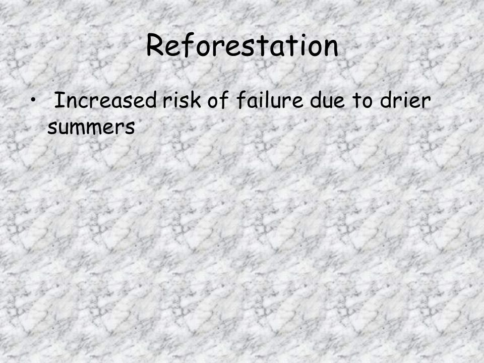 Reforestation Increased risk of failure due to drier summers