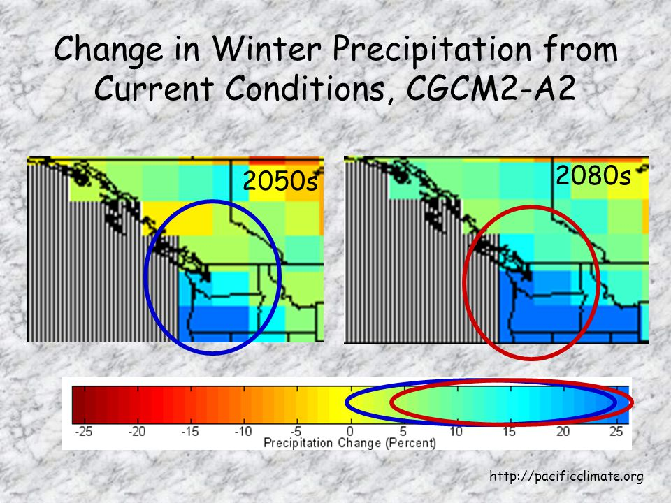 Change in Winter Precipitation from Current Conditions, CGCM2-A s 2080s