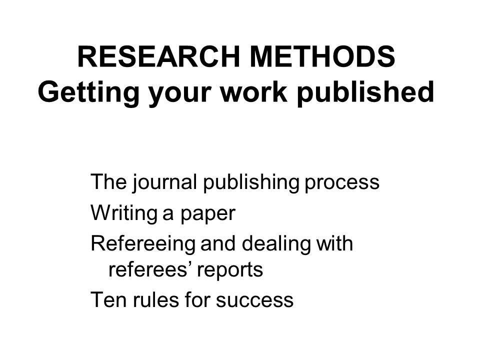 Methods of a research paper