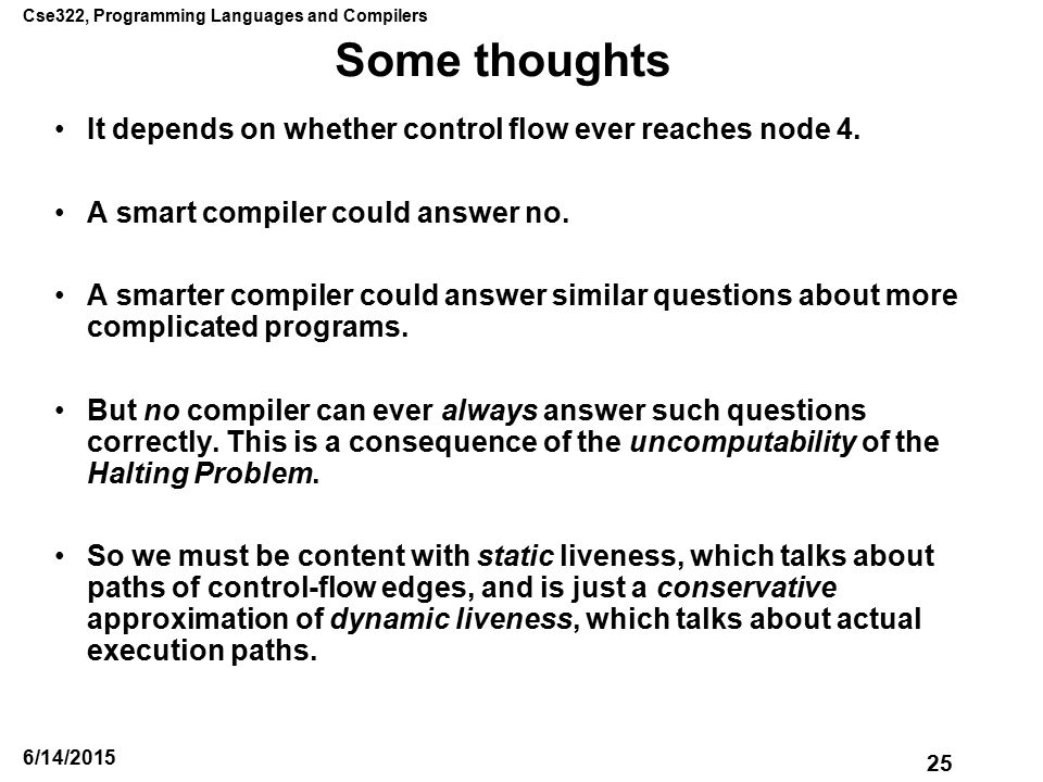 Cse322, Programming Languages and Compilers 25 6/14/2015 Some thoughts It depends on whether control flow ever reaches node 4.