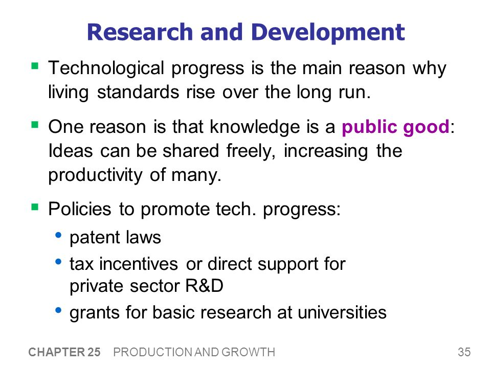 35 CHAPTER 25 PRODUCTION AND GROWTH Research and Development  Technological progress is the main reason why living standards rise over the long run.