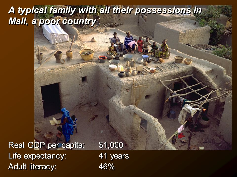 A typical family with all their possessions in Mali, a poor country Real GDP per capita: $1,000 Life expectancy: 41 years Adult literacy: 46% Real GDP per capita: $1,000 Life expectancy: 41 years Adult literacy: 46%