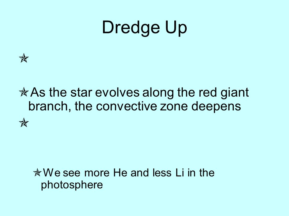 Dredge Up   As the star evolves along the red giant branch, the convective zone deepens   We see more He and less Li in the photosphere