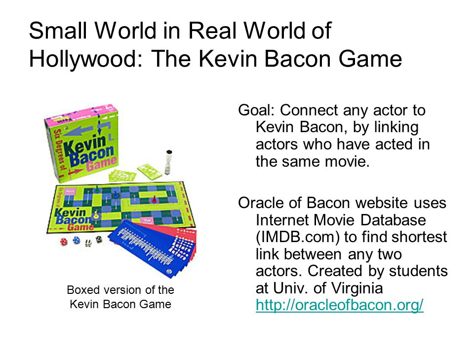 Small World in Real World of Hollywood: The Kevin Bacon Game Goal: Connect any actor to Kevin Bacon, by linking actors who have acted in the same movie.