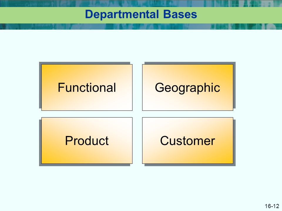 16-12 Departmental Bases Functional Geographic Product Customer