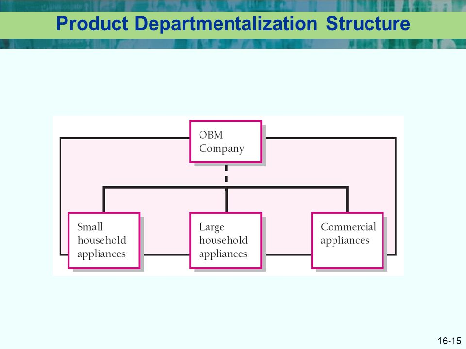16-15 Product Departmentalization Structure