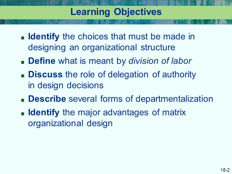 16-2 Learning Objectives ■ Identify the choices that must be made in designing an organizational structure ■ Define what is meant by division of labor ■ Discuss the role of delegation of authority in design decisions ■ Describe several forms of departmentalization ■ Identify the major advantages of matrix organizational design