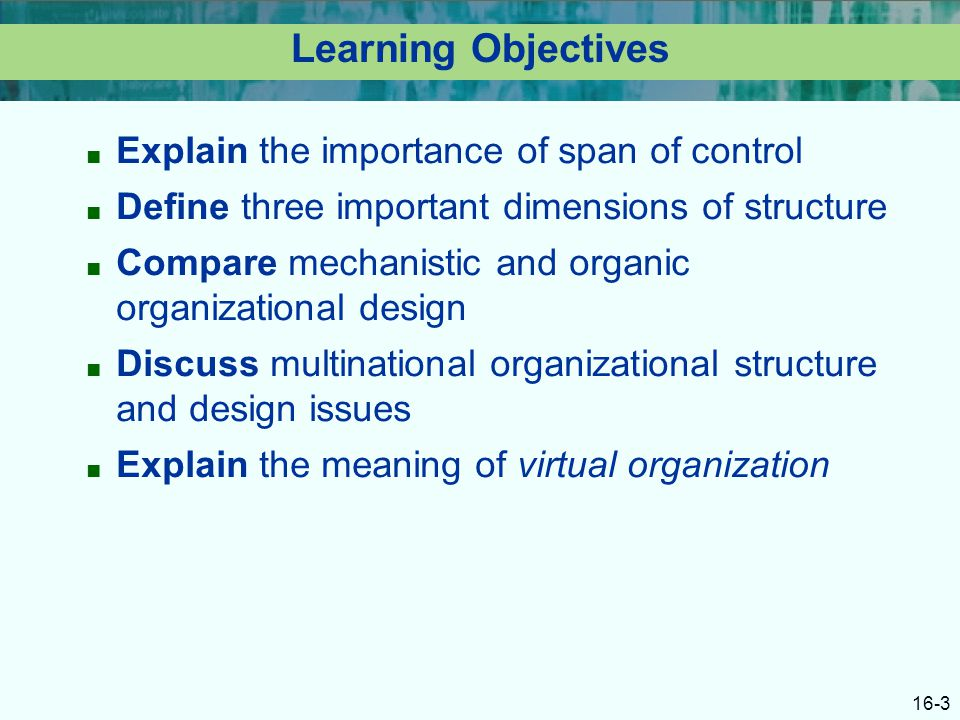 16-3 Learning Objectives ■ Explain the importance of span of control ■ Define three important dimensions of structure ■ Compare mechanistic and organic organizational design ■ Discuss multinational organizational structure and design issues ■ Explain the meaning of virtual organization