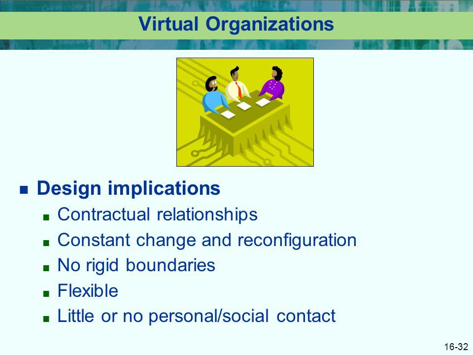 16-32 Virtual Organizations Design implications ■ Contractual relationships ■ Constant change and reconfiguration ■ No rigid boundaries ■ Flexible ■ Little or no personal/social contact