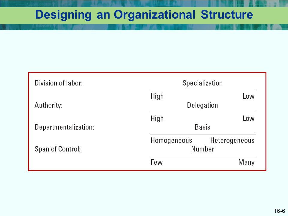 16-6 Designing an Organizational Structure
