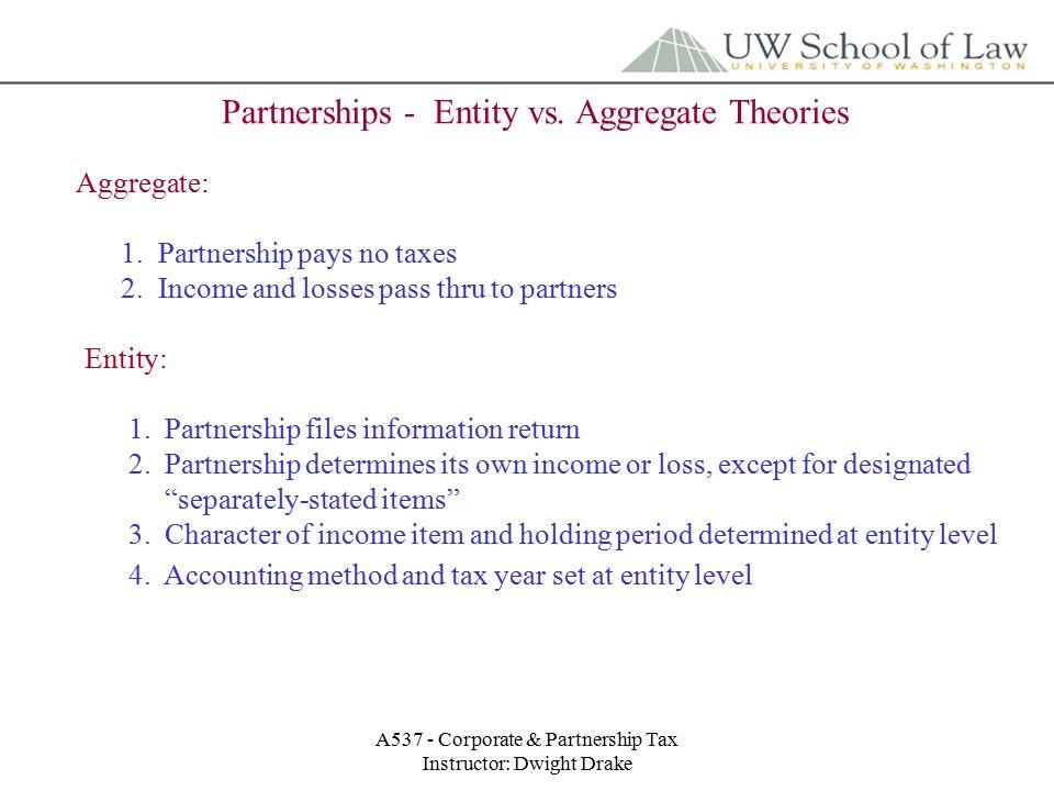 A537 - Corporate & Partnership Tax Instructor: Dwight Drake Partnerships - Entity vs.