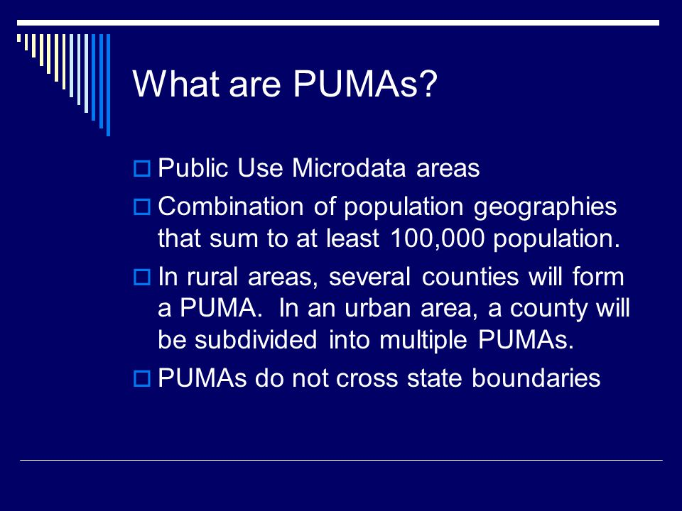 What are PUMAs.