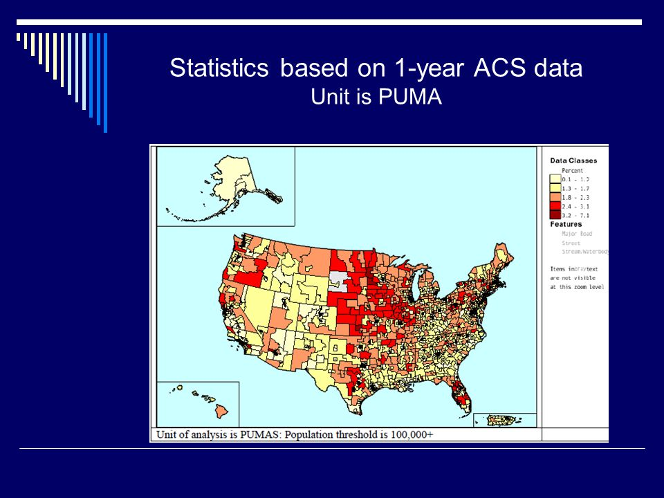 Statistics based on 1-year ACS data Unit is PUMA