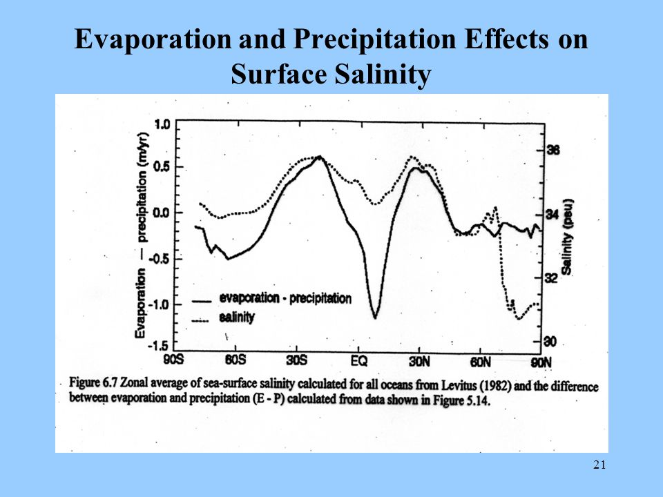 21 Evaporation and Precipitation Effects on Surface Salinity