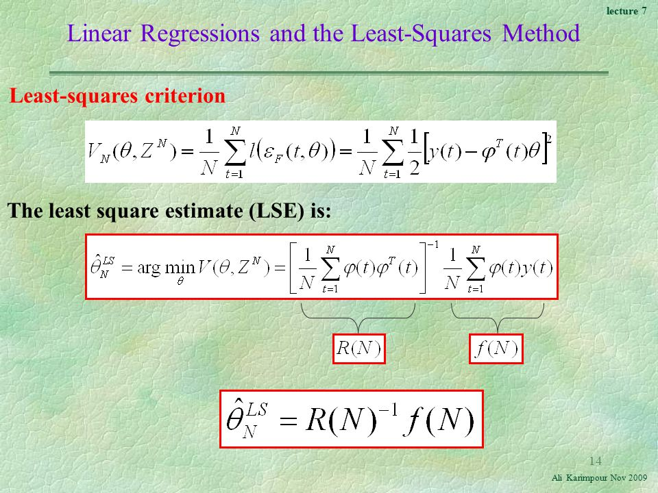 lecture 7 Ali Karimpour Nov Linear Regressions and the Least-Squares Method Least-squares criterion The least square estimate (LSE) is: