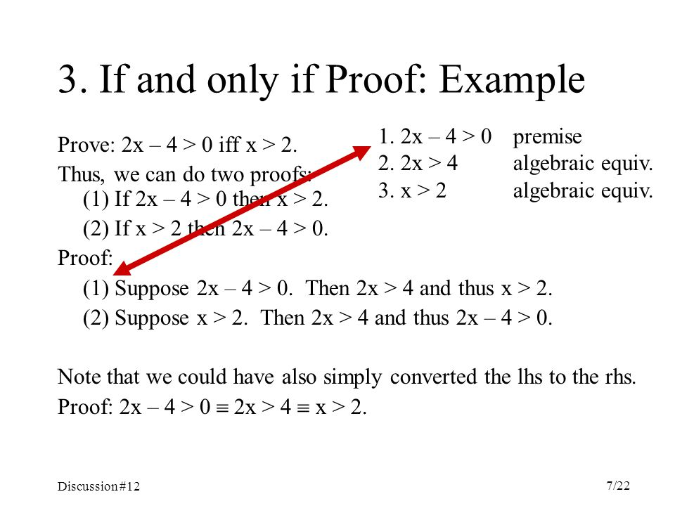 Discussion #12 7/22 3. If and only if Proof: Example Prove: 2x – 4 > 0 iff x > 2.
