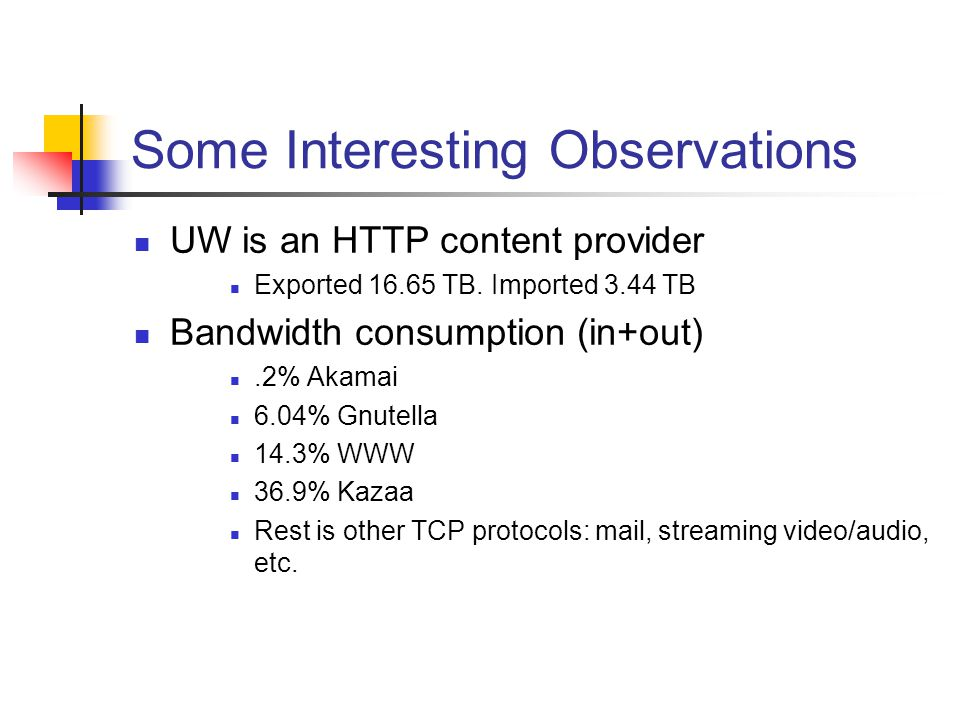 Some Interesting Observations UW is an HTTP content provider Exported TB.
