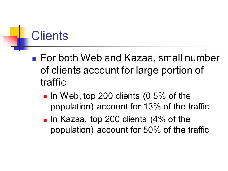 Clients For both Web and Kazaa, small number of clients account for large portion of traffic In Web, top 200 clients (0.5% of the population) account for 13% of the traffic In Kazaa, top 200 clients (4% of the population) account for 50% of the traffic