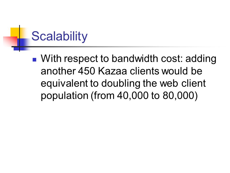Scalability With respect to bandwidth cost: adding another 450 Kazaa clients would be equivalent to doubling the web client population (from 40,000 to 80,000)