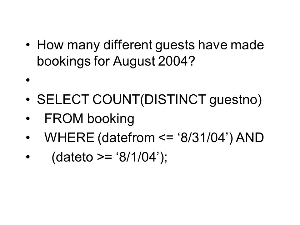 How many different guests have made bookings for August 2004.
