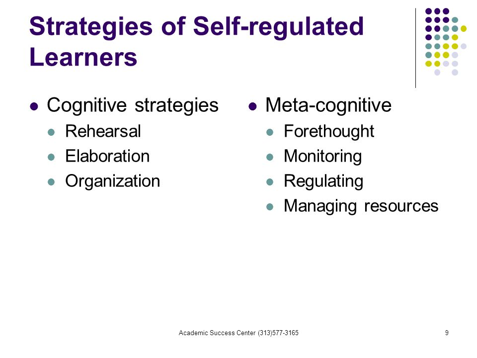 Academic Success Center (313) Strategies of Self-regulated Learners Cognitive strategies Rehearsal Elaboration Organization Meta-cognitive Forethought Monitoring Regulating Managing resources