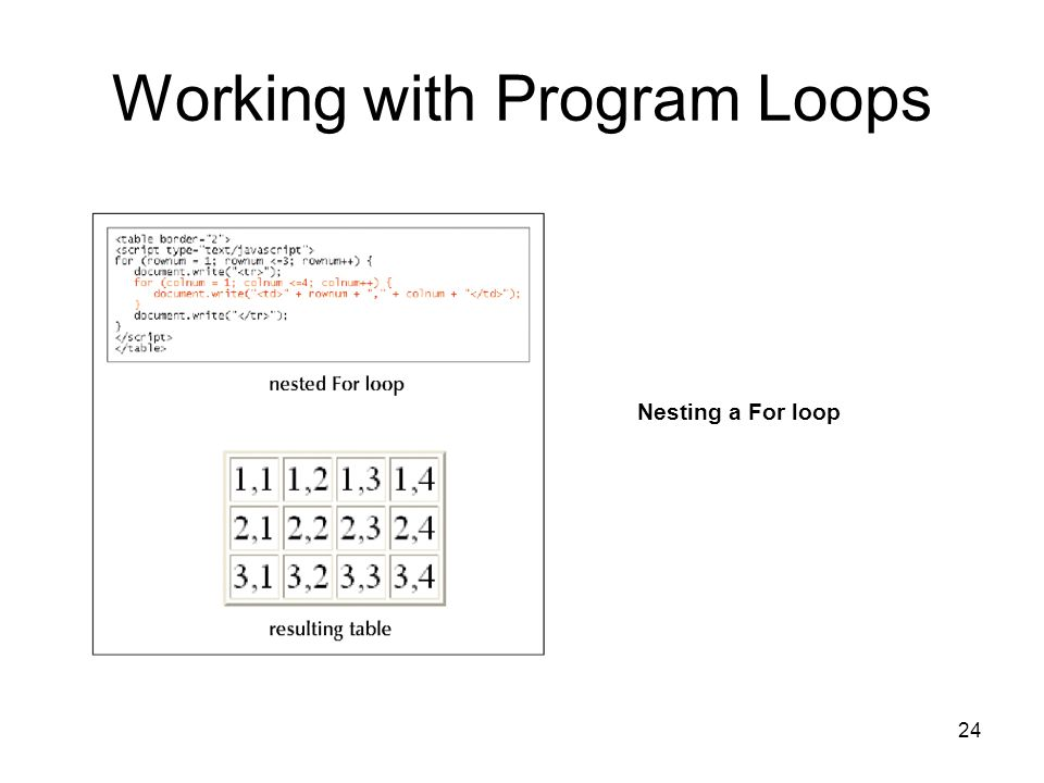 24 Working with Program Loops Nesting a For loop