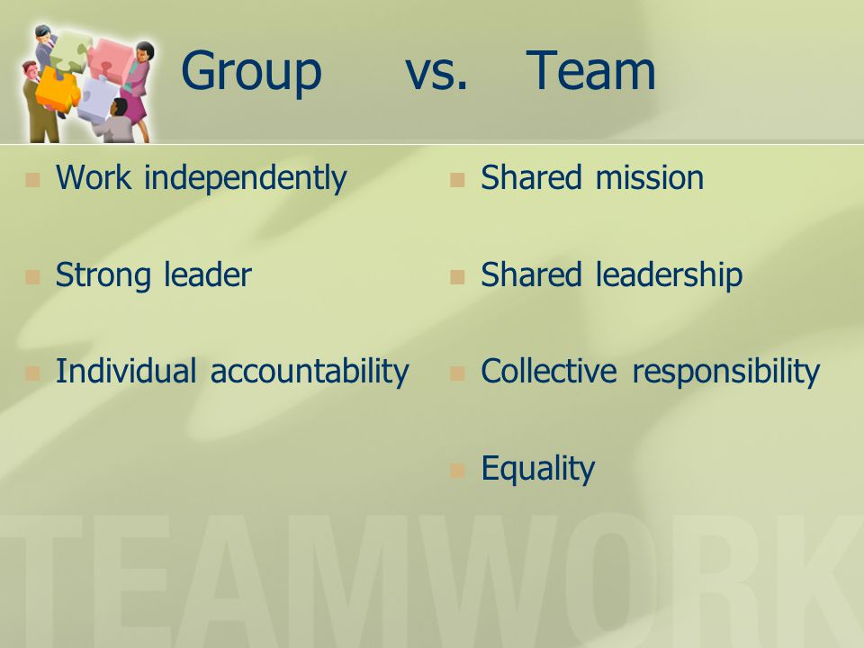 Teamwork An understanding of and commitment to group goals on the part of all team members.