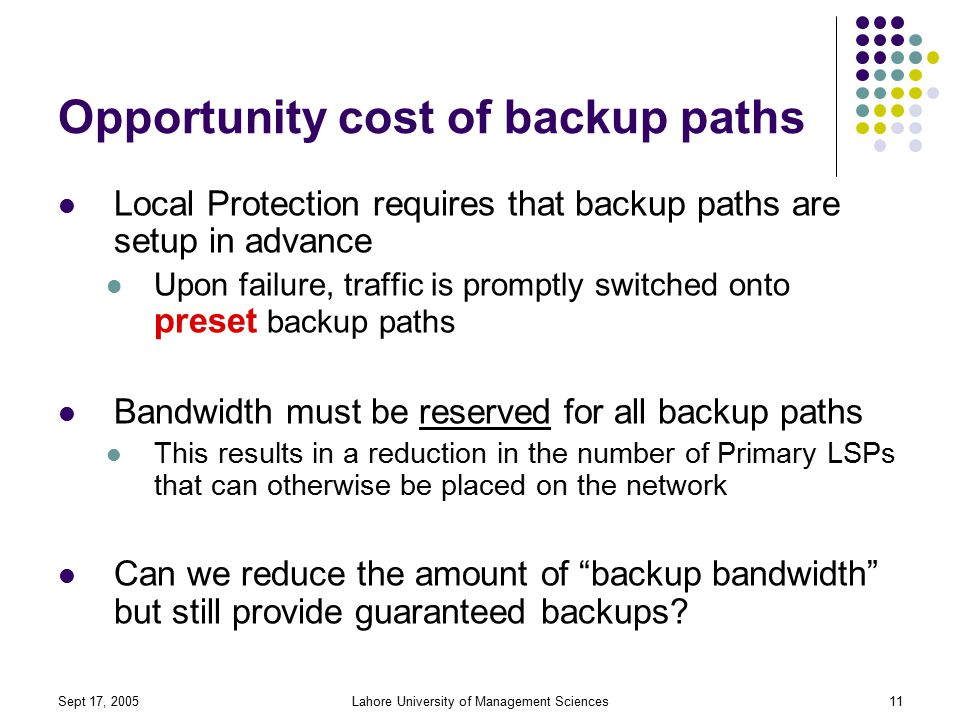 Sept 17, 2005Lahore University of Management Sciences11 Opportunity cost of backup paths Local Protection requires that backup paths are setup in advance Upon failure, traffic is promptly switched onto preset backup paths Bandwidth must be reserved for all backup paths This results in a reduction in the number of Primary LSPs that can otherwise be placed on the network Can we reduce the amount of backup bandwidth but still provide guaranteed backups