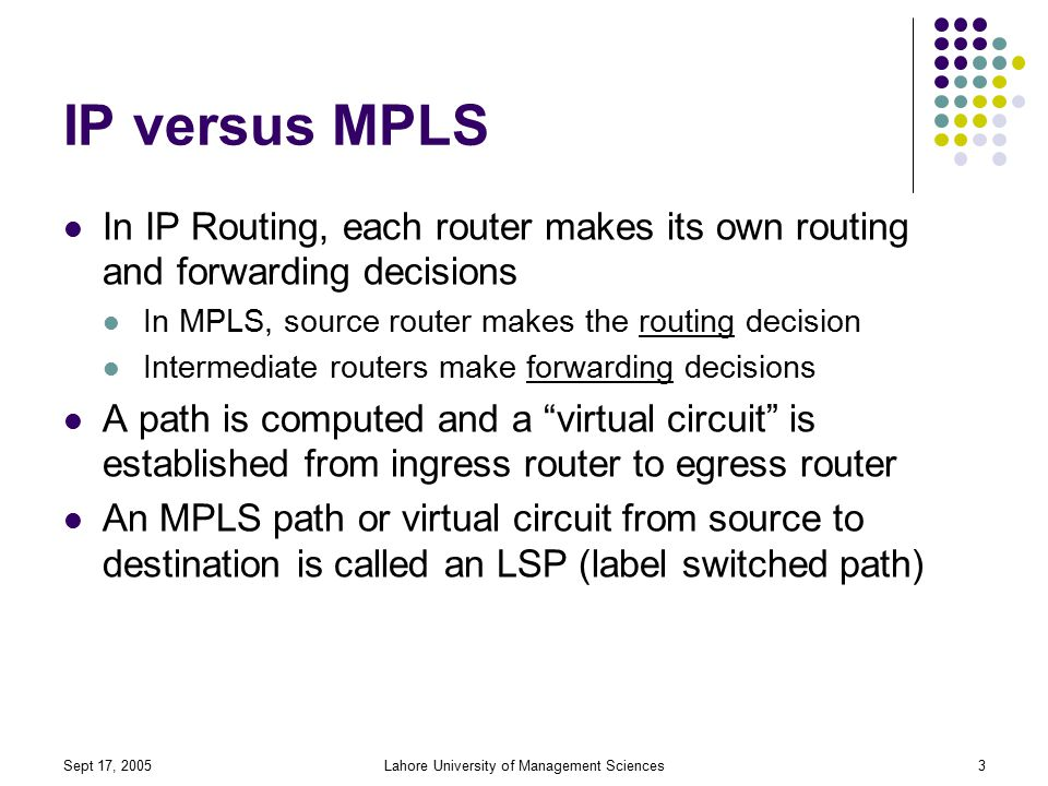 Sept 17, 2005Lahore University of Management Sciences3 IP versus MPLS In IP Routing, each router makes its own routing and forwarding decisions In MPLS, source router makes the routing decision Intermediate routers make forwarding decisions A path is computed and a virtual circuit is established from ingress router to egress router An MPLS path or virtual circuit from source to destination is called an LSP (label switched path)
