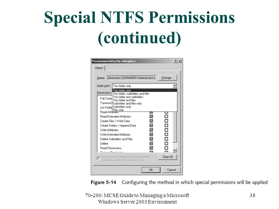 70-290: MCSE Guide to Managing a Microsoft Windows Server 2003 Environment 38 Special NTFS Permissions (continued)