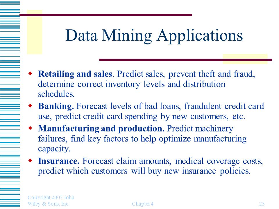 Copyright 2007 John Wiley & Sons, Inc. Chapter 423 Data Mining Applications  Retailing and sales.