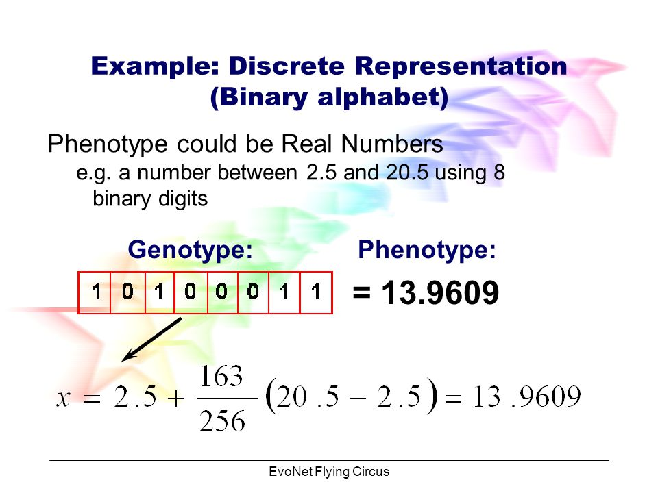 EvoNet Flying Circus Example: Discrete Representation (Binary alphabet) Phenotype could be integer numbers Genotype: 1* * * * * * * *2 0 = = 163 = 163 Phenotype:
