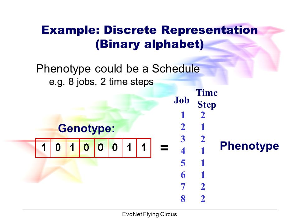 EvoNet Flying Circus Example: Discrete Representation (Binary alphabet) Phenotype could be Real Numbers e.g.