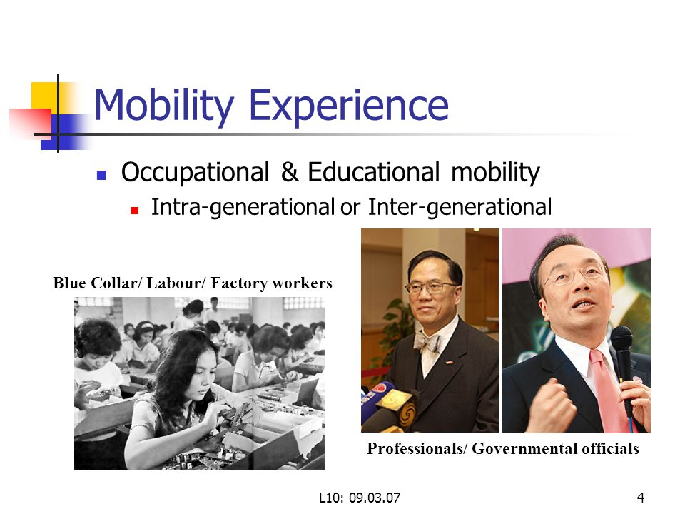 L10: Mobility Experience Occupational & Educational mobility Intra-generational or Inter-generational Blue Collar/ Labour/ Factory workers Professionals/ Governmental officials