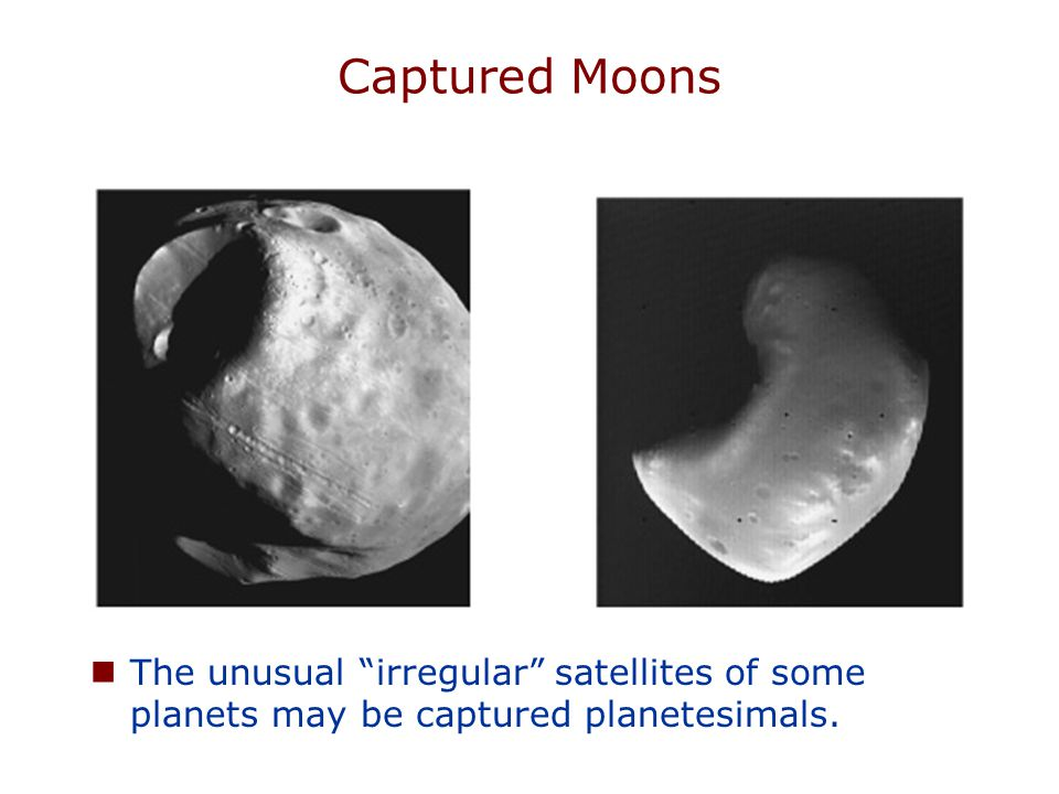Captured Moons The unusual irregular satellites of some planets may be captured planetesimals.