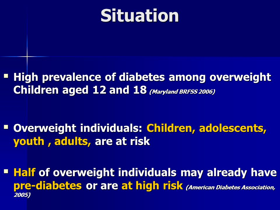 Situation  High prevalence of diabetes among overweight Children aged 12 and 18 (Maryland BRFSS 2006)  Overweight individuals: Children, adolescents, youth, adults, are at risk  Half of overweight individuals may already have pre-diabetes or are at high risk (American Diabetes Association, 2005)