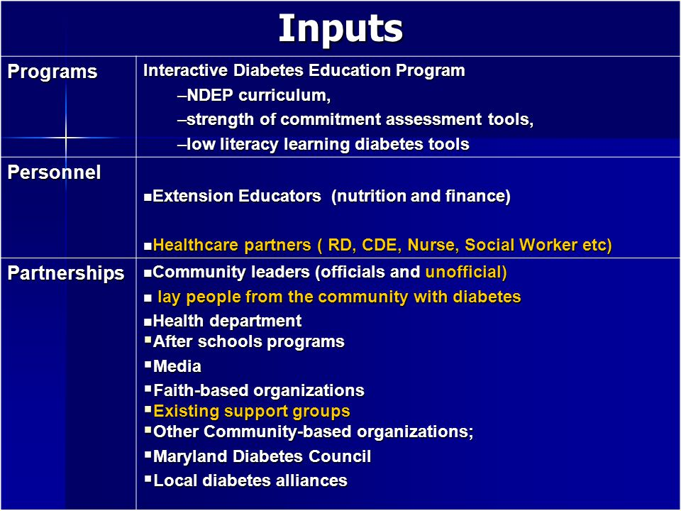 Inputs Programs Interactive Diabetes Education Program –NDEP curriculum, –strength of commitment assessment tools, –low literacy learning diabetes tools Personnel Extension Educators (nutrition and finance) Extension Educators (nutrition and finance) Healthcare partners ( RD, CDE, Nurse, Social Worker etc) Healthcare partners ( RD, CDE, Nurse, Social Worker etc) Partnerships Community leaders (officials and unofficial) Community leaders (officials and unofficial) lay people from the community with diabetes lay people from the community with diabetes Health department Health department  After schools programs  Media  Faith-based organizations  Existing support groups  Other Community-based organizations;  Maryland Diabetes Council  Local diabetes alliances