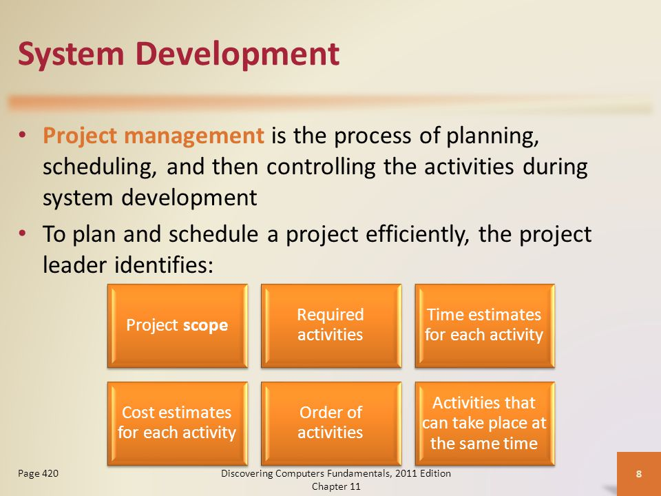 System Development Project management is the process of planning, scheduling, and then controlling the activities during system development To plan and schedule a project efficiently, the project leader identifies: Discovering Computers Fundamentals, 2011 Edition Chapter 11 8 Page 420 Project scope Required activities Time estimates for each activity Cost estimates for each activity Order of activities Activities that can take place at the same time