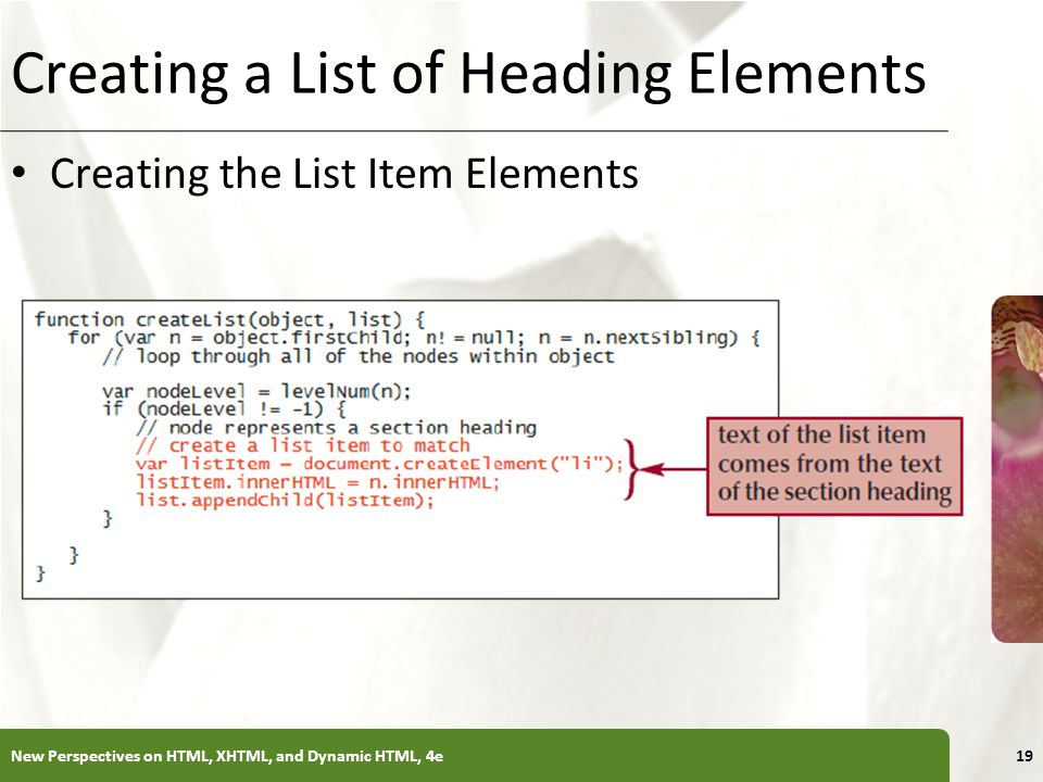 XP Creating a List of Heading Elements Creating the List Item Elements New Perspectives on HTML, XHTML, and Dynamic HTML, 4e19