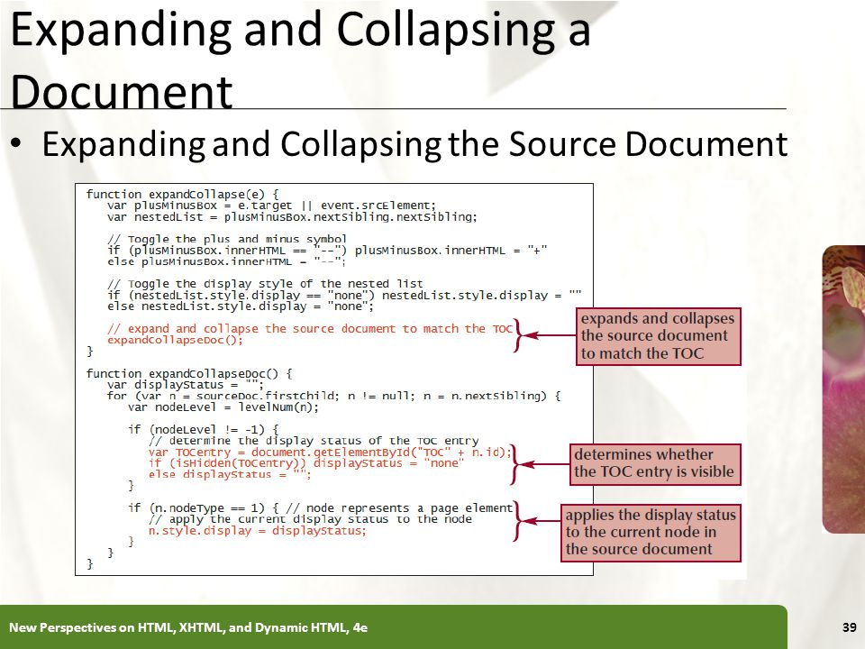 XP Expanding and Collapsing a Document Expanding and Collapsing the Source Document New Perspectives on HTML, XHTML, and Dynamic HTML, 4e39