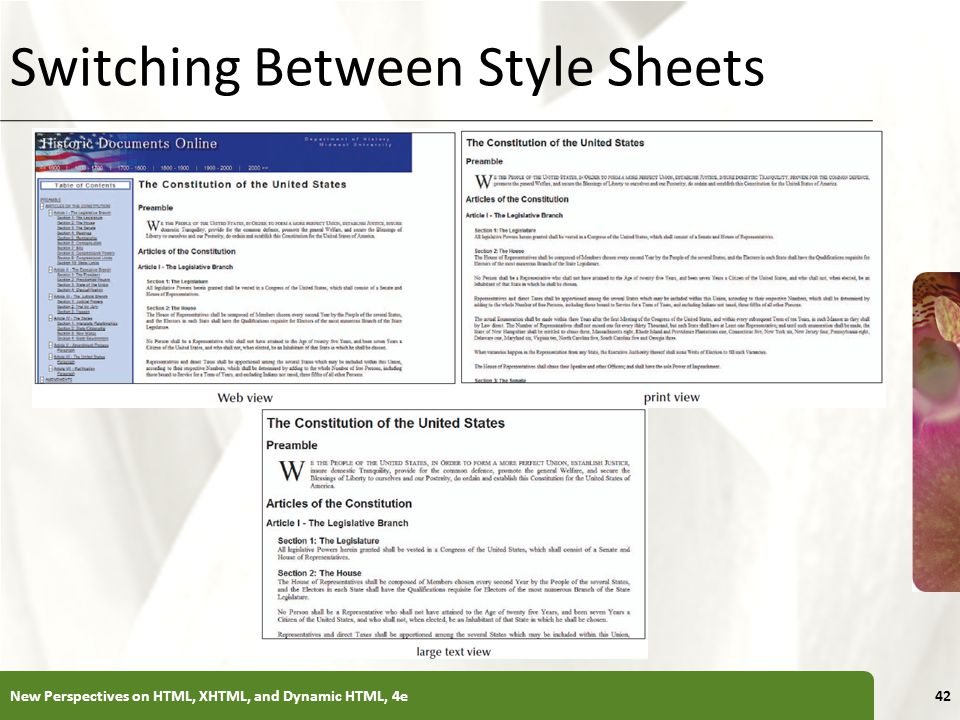 XP Switching Between Style Sheets New Perspectives on HTML, XHTML, and Dynamic HTML, 4e42