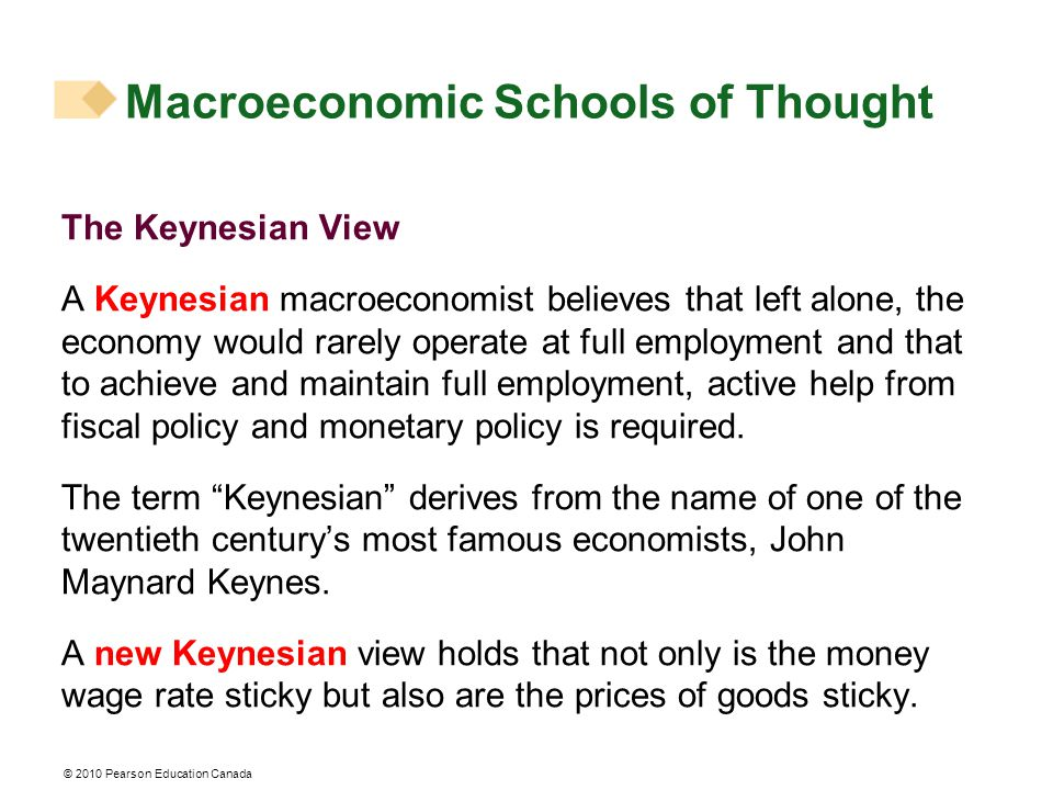 © 2010 Pearson Education Canada Macroeconomic Schools of Thought The Keynesian View A Keynesian macroeconomist believes that left alone, the economy would rarely operate at full employment and that to achieve and maintain full employment, active help from fiscal policy and monetary policy is required.