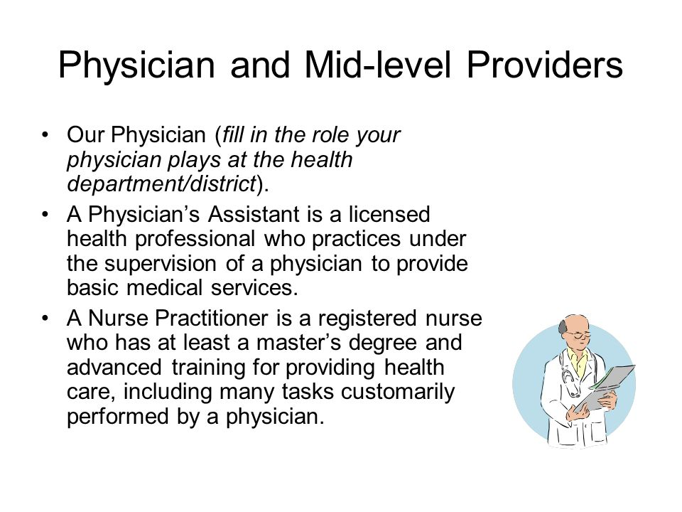 Physician and Mid-level Providers Our Physician (fill in the role your physician plays at the health department/district).
