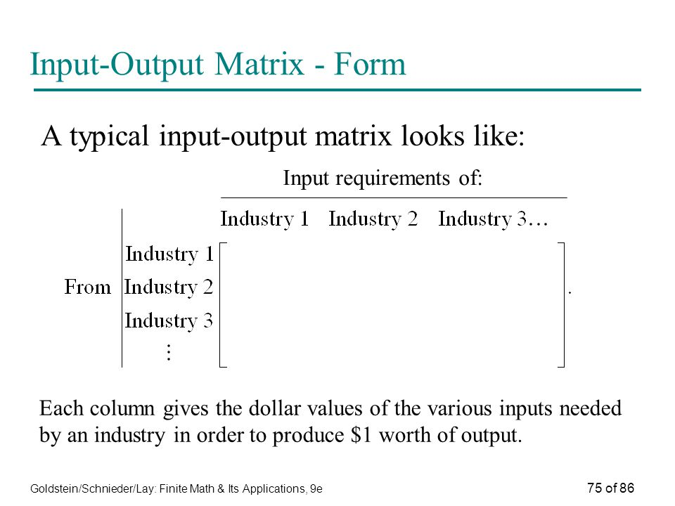 Goldstein/Schnieder/Lay: Finite Math & Its Applications, 9e 75 of 86 Input-Output Matrix - Form A typical input-output matrix looks like: Input requirements of: Each column gives the dollar values of the various inputs needed by an industry in order to produce $1 worth of output.