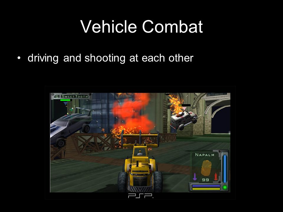 Vehicle Combat driving and shooting at each other