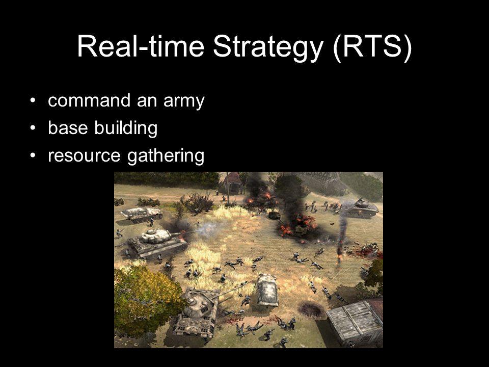 Real-time Strategy (RTS) command an army base building resource gathering