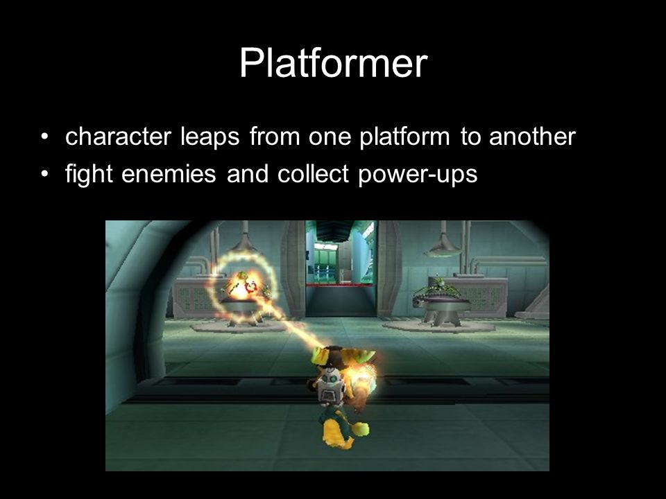Platformer character leaps from one platform to another fight enemies and collect power-ups
