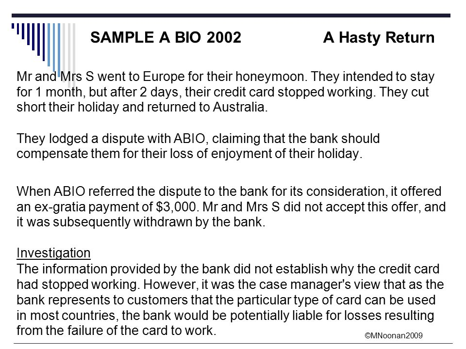 ©MNoonan2009 SAMPLE A BIO 2002A Hasty Return Mr and Mrs S went to Europe for their honeymoon.